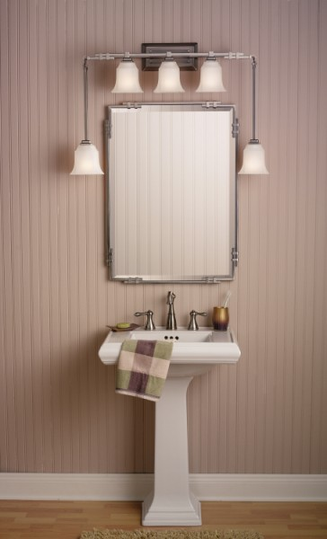 Pedal Sink, Mirror, and Lighting to Enhance Small Bathroom